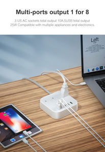 Tabletop Socket Fast Charger Outlet Cord Extension USB Electrical Plug Universal Power Socket