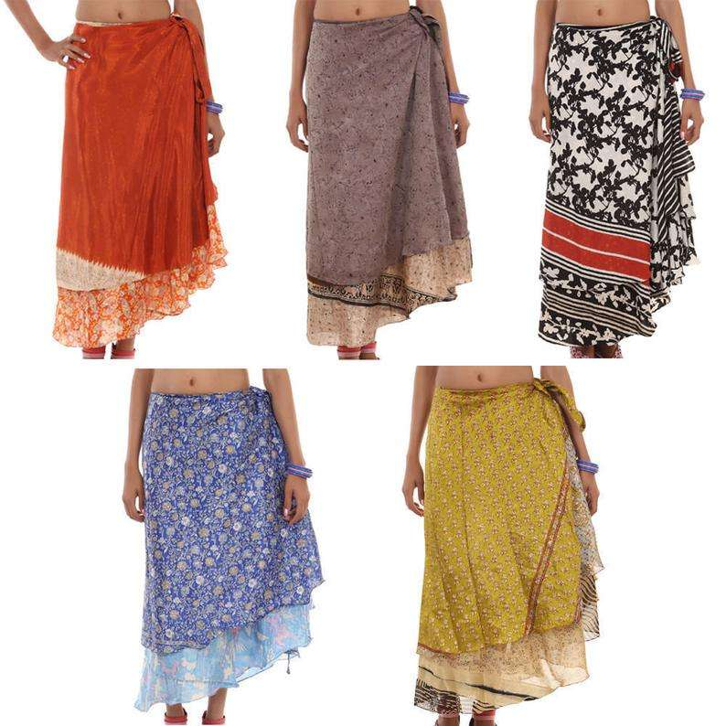 handmade Silk Wrap Around Skirt Indian Belly Dance Skirt Hippie Multi Colorful Girl's Skirt