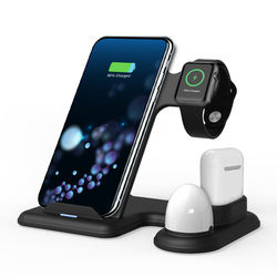 New Arrival 2020 Multi 4 In 1 Qi-Certified Bedside Portable Cell Phone Fast Wireless Charger Dock Station With Desk Lamp