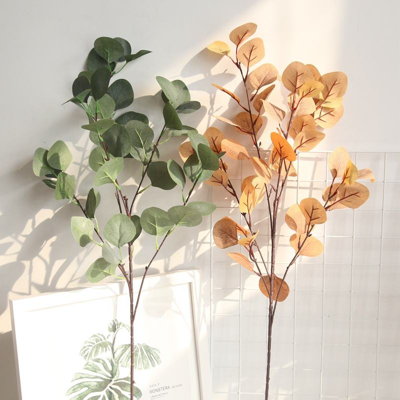 Hot Selling Artificial Autumn Leaves Eucalyptus Single Stems Wedding Decorative