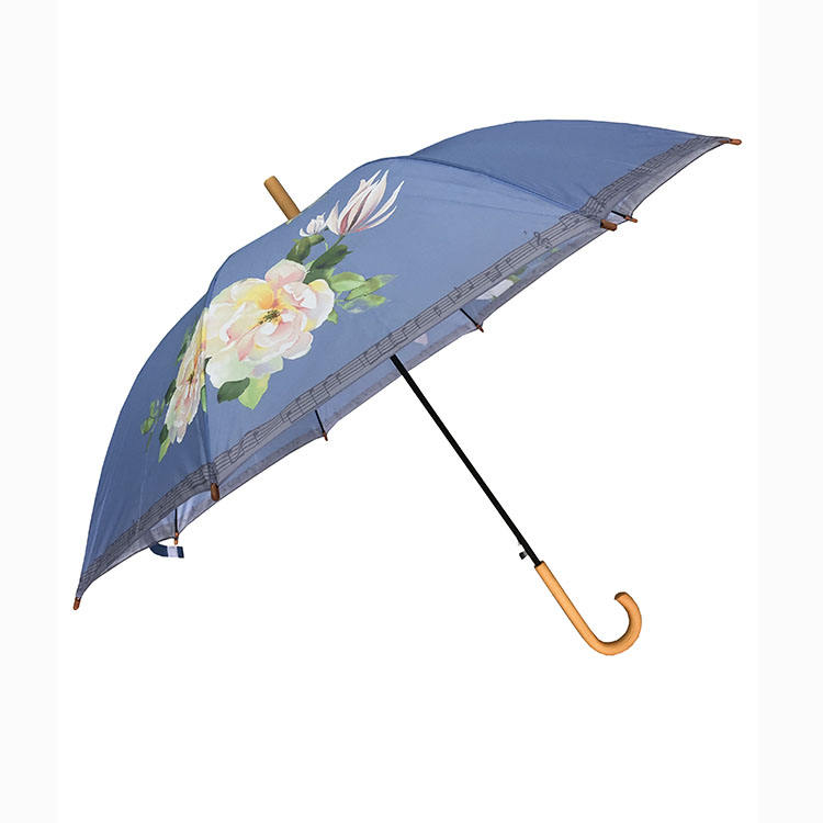 2020 new invention promotional LOGO print advertising wooden handle straight umbrella