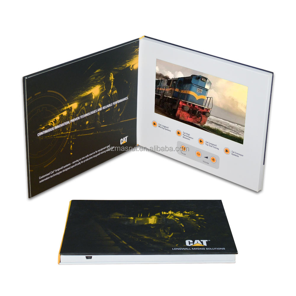 Advertising promotion video brochure card 7inch video in print lcd screen book digital catalog