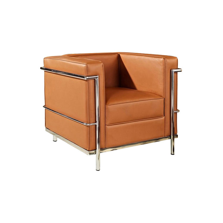 Hot Sale European Style Italian Brown Leather LC2 Single Sofa Chair with Arm and Metal Legs