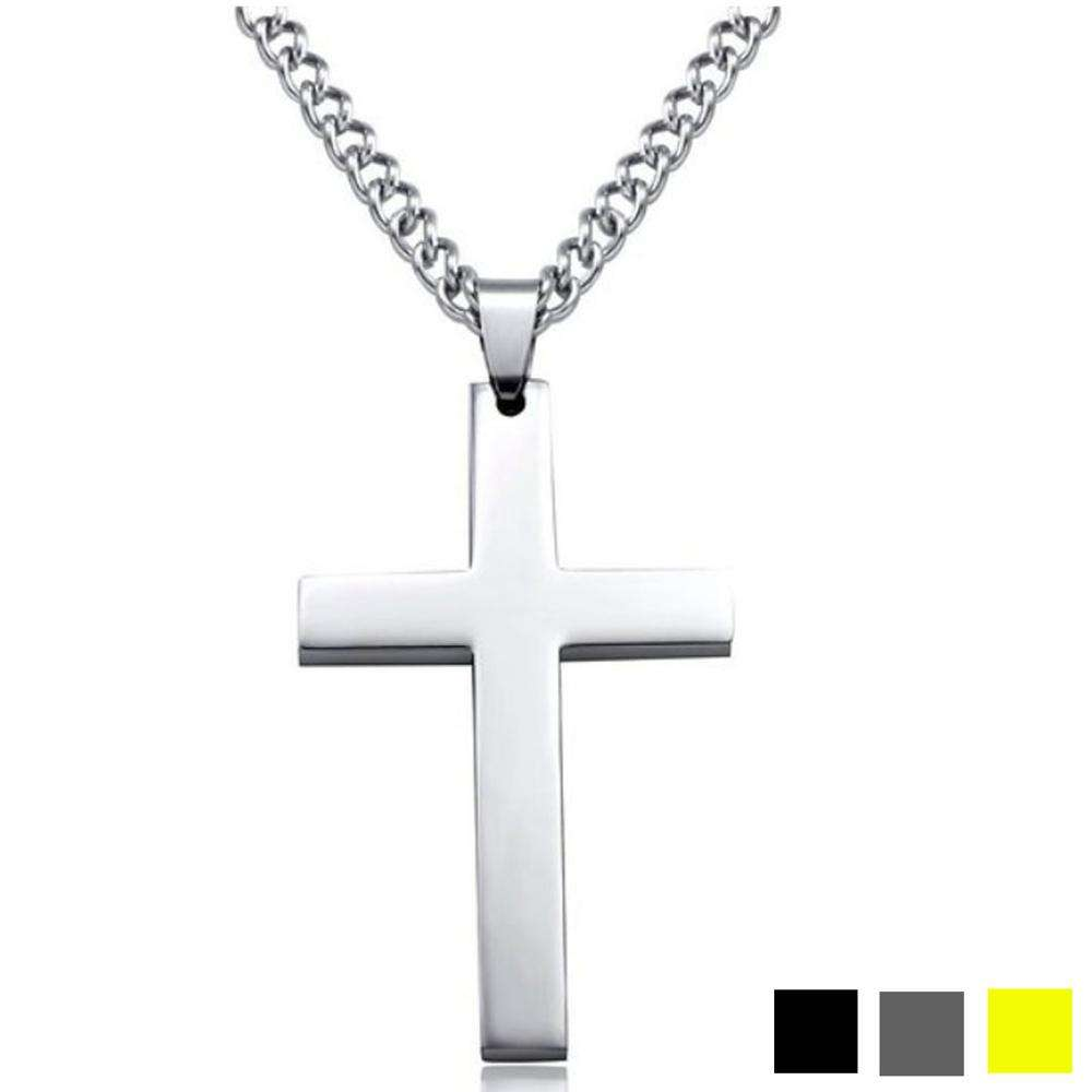 2019 New Fashion Titanium Cross Necklaces Stainless Steel Gold Silver Black Prayer Choker Cross Pendants For Men Jewelry