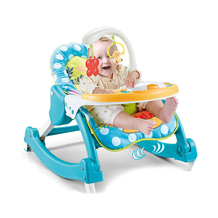 Baby Vibration Music Rocking Chair Blue Rocker Automatic Cradle Infant Swing