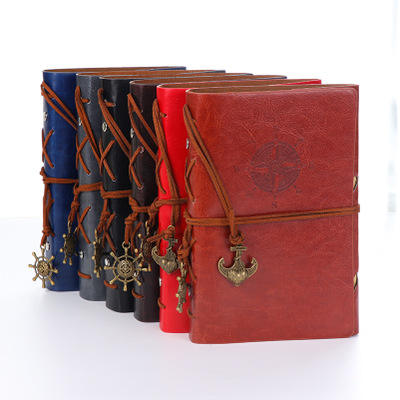 D-687 Stationery Gift Diary Notepad Vintage Pirate Anchors PU Leather Spiral Notebook