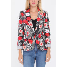 Hot Sale French Design Women Jacket Red Floral Printed Blazer Suit For Export