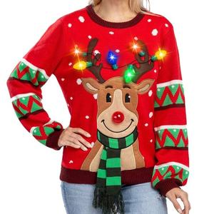Custom led christmas pullover sweater daddy adult christmas sweater with led lights led christmas jumper with led lights