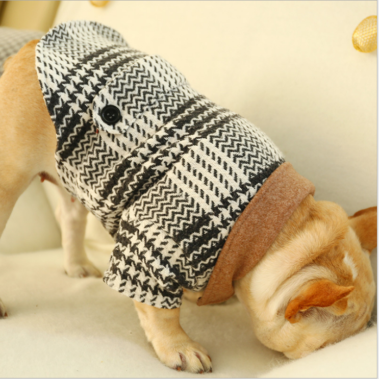 Zwart Wit Plaid Hond Leisure Jas Warm