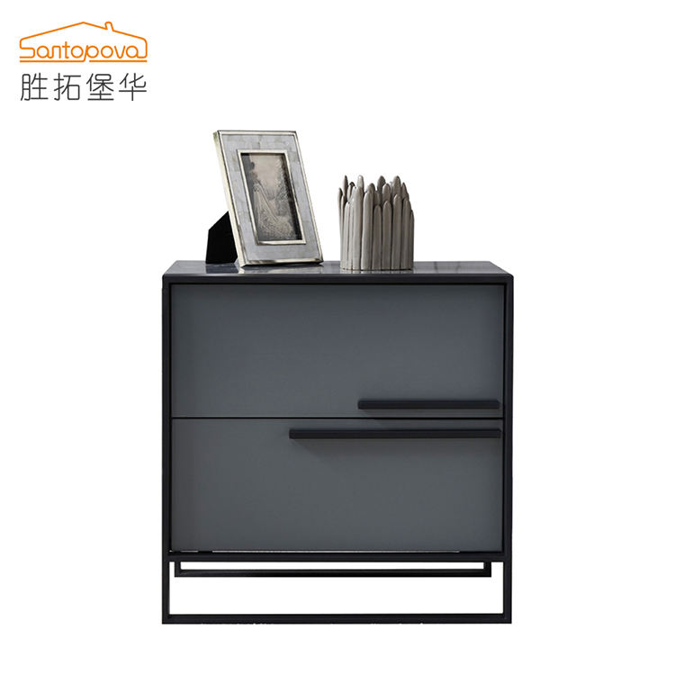 modern carbon steel Gray paint nightstand solid wood drawer bedroom 2 drawer bedside table
