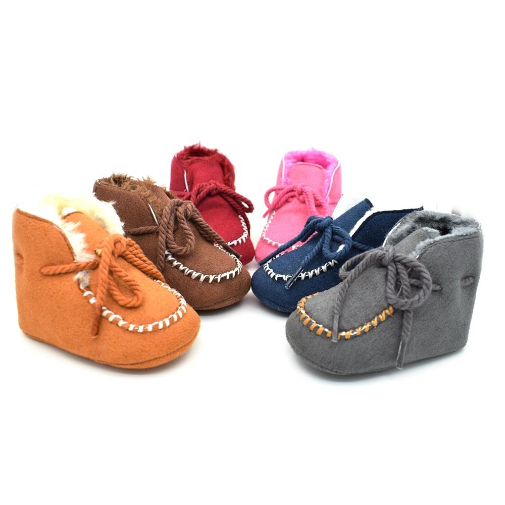 Wholesale Faux Suede Flat Soft Sole Pure Color Lace-Up Warm baby boots with Plush inside
