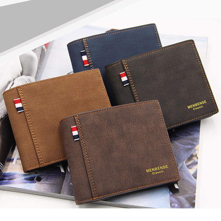 Stylish PU Leather Wallet Men Simple Casual Short Male Wallet Small Clutch Purse
