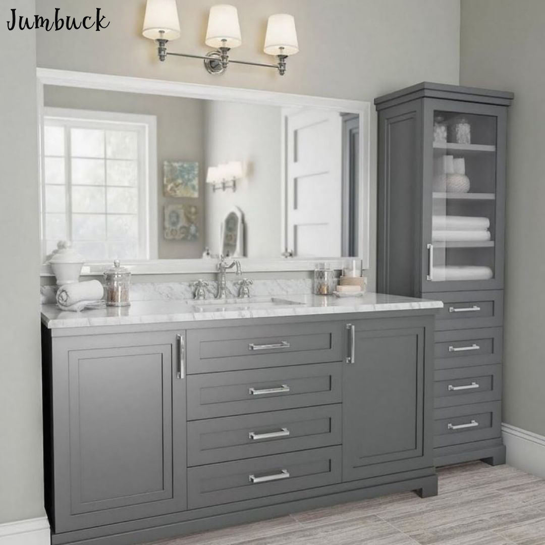 Luxury grey elegent bathroom vanity with sink with one tall storage cabinet