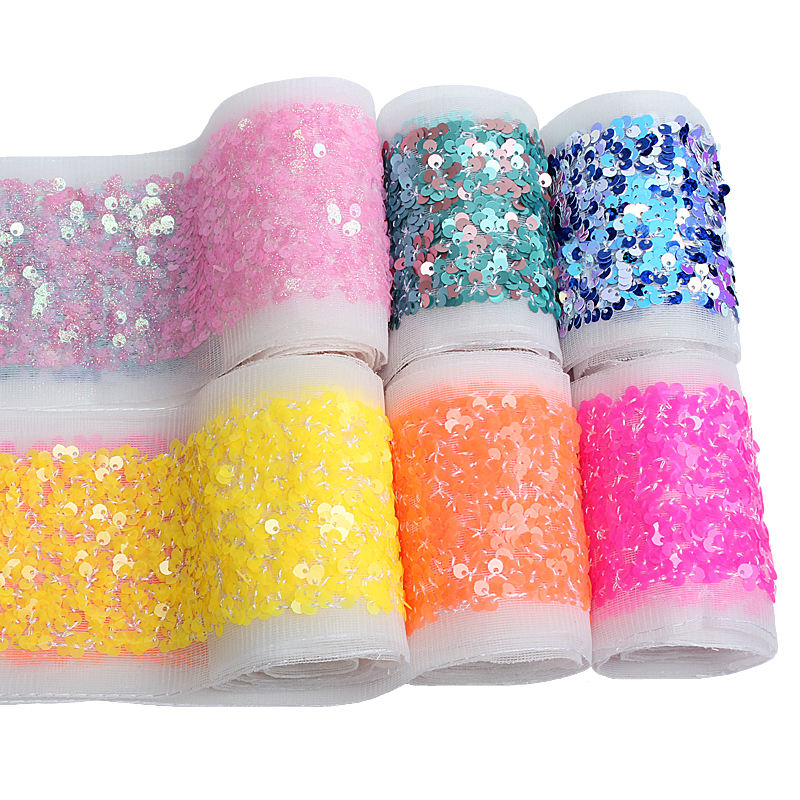 2020 Hot sale 3 inch wired scatter fabric sequin ribbon