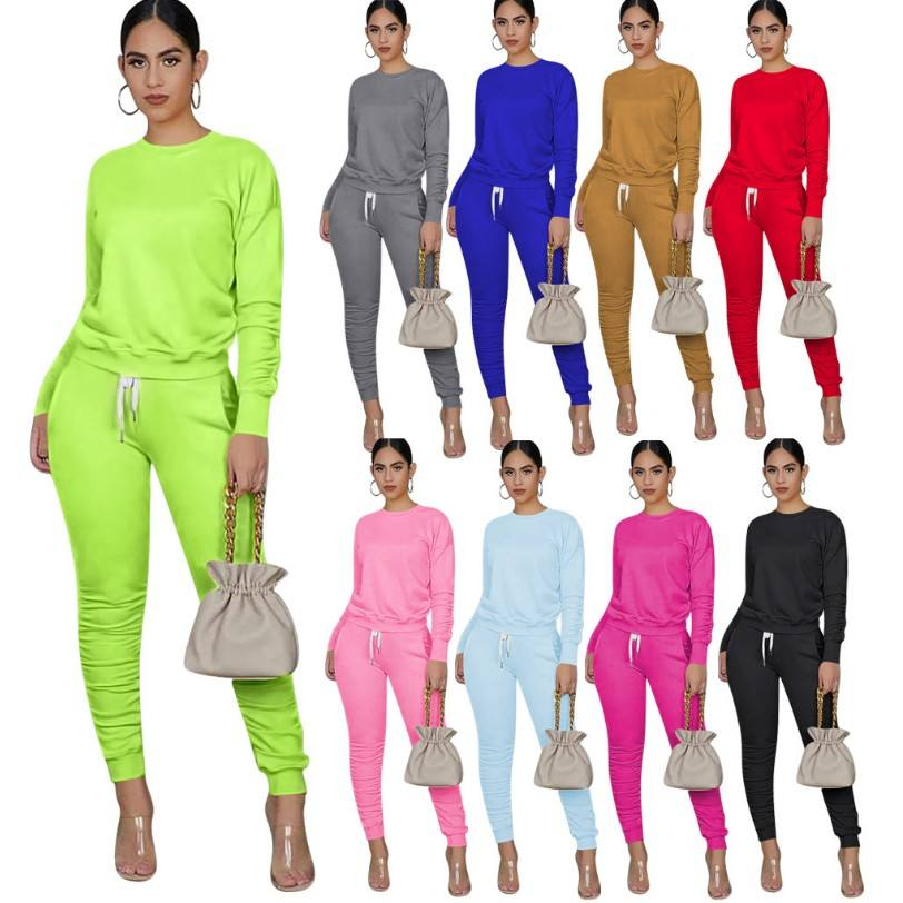 2020 Autumn Sweatshirt Long Sleeve Two Piece Pant Set Women Clothing Stacked Tracksuit Joggers Suits Set