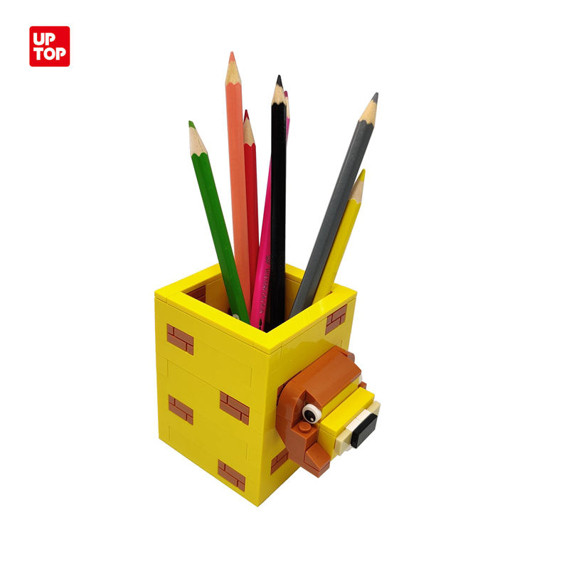 2021 Latest Design Jungle Animal Series DIY Building Blocks Lion Shaped Pencil Holder