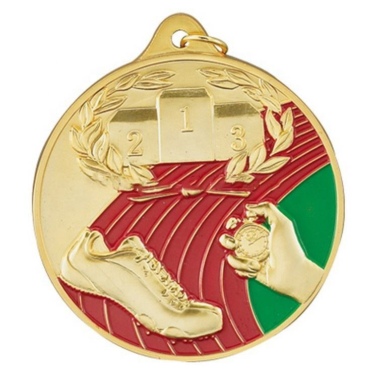 Australia track field race medal running medallion triathlon medal with red ribbon