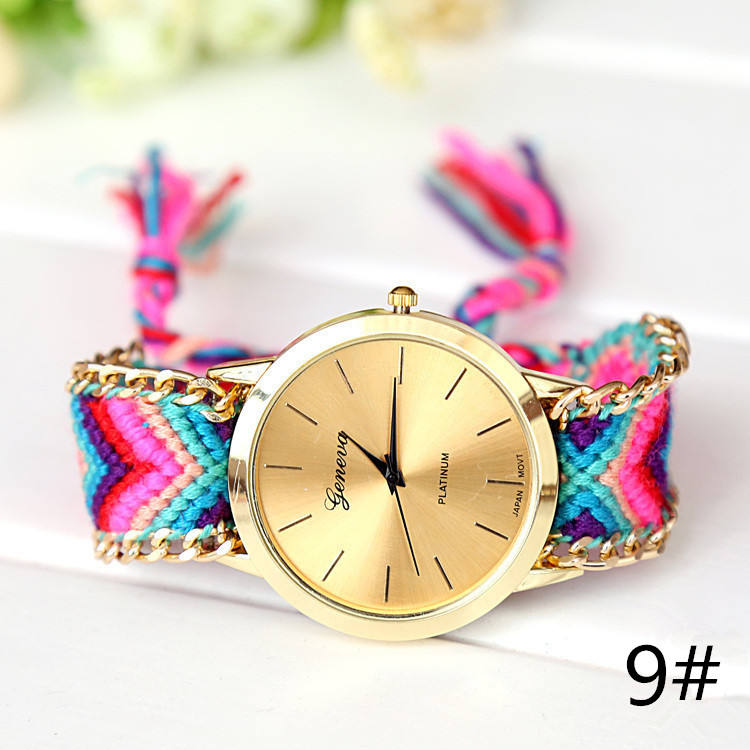 Wool Wave Braided Watch Ladies Fashion Geneva Dress Gold Dial Rope Rainbow Color Quartz Women Watches