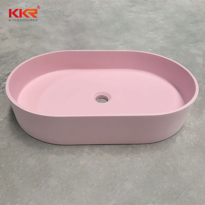 Sanitary Wares Artificial Stone Solid Surface Wash Basin Lavabo Sink Wall Hung Basin Above-counter Pink Sink