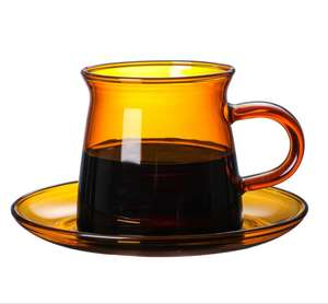 DWG-85 Amber Glass Espresso Coffee Cups And Saucers Sets