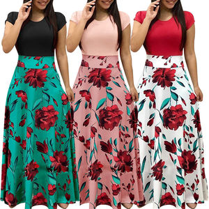 Women's Clothing Flower Print Long Dress 2020 Summer Elegant Ladies Long Party Dress E0300