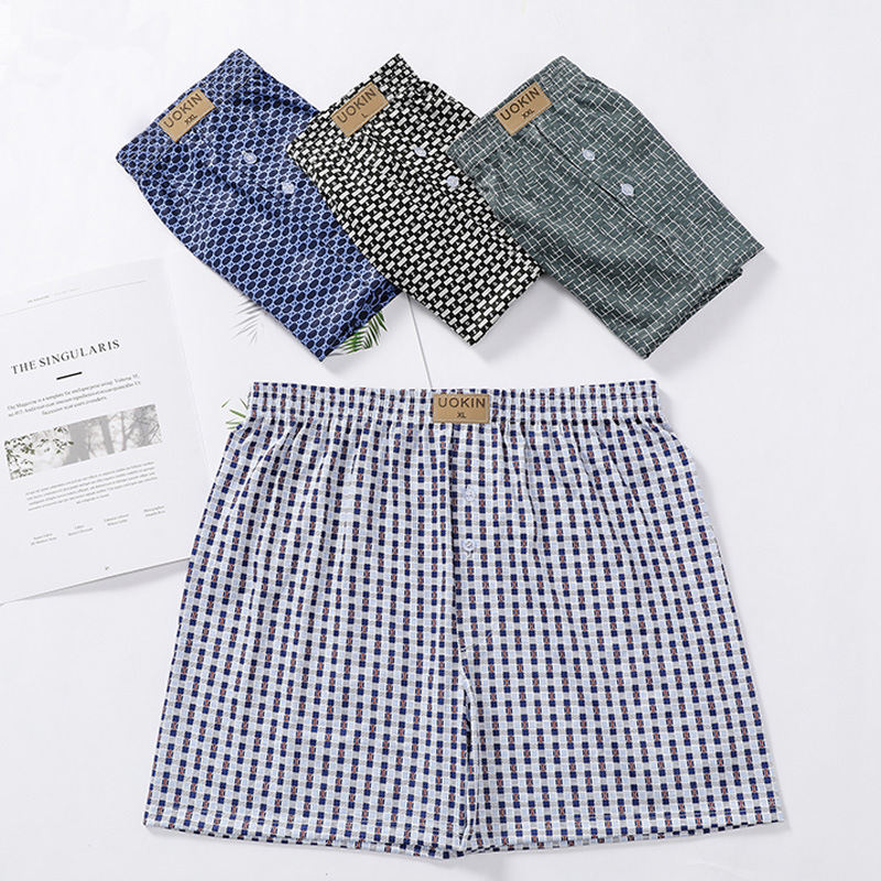 Men's Boxer Pants Home Casual Loose Comfortable Plaid Fashion Boxer Shorts
