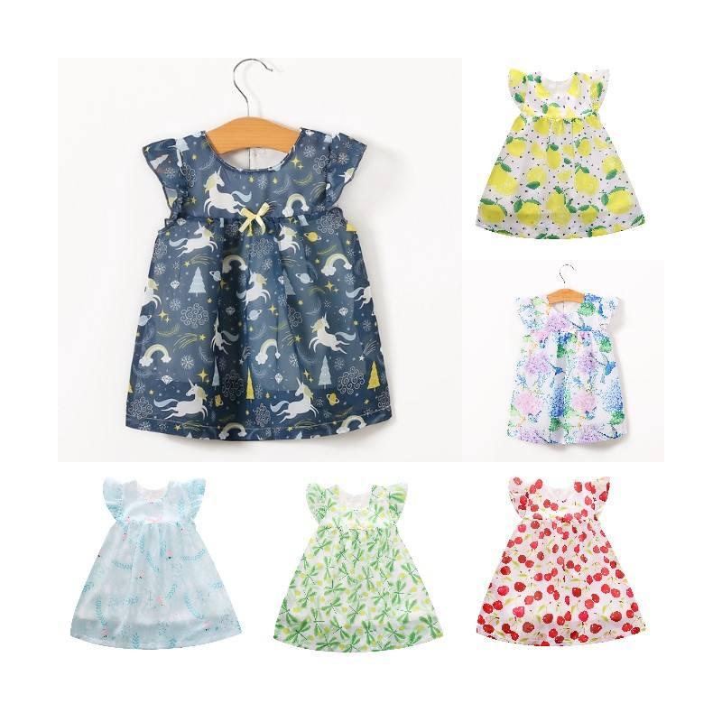 La ropa de los niños proveedor varios diseño gasa vestido aleteo manga verano niña vestido