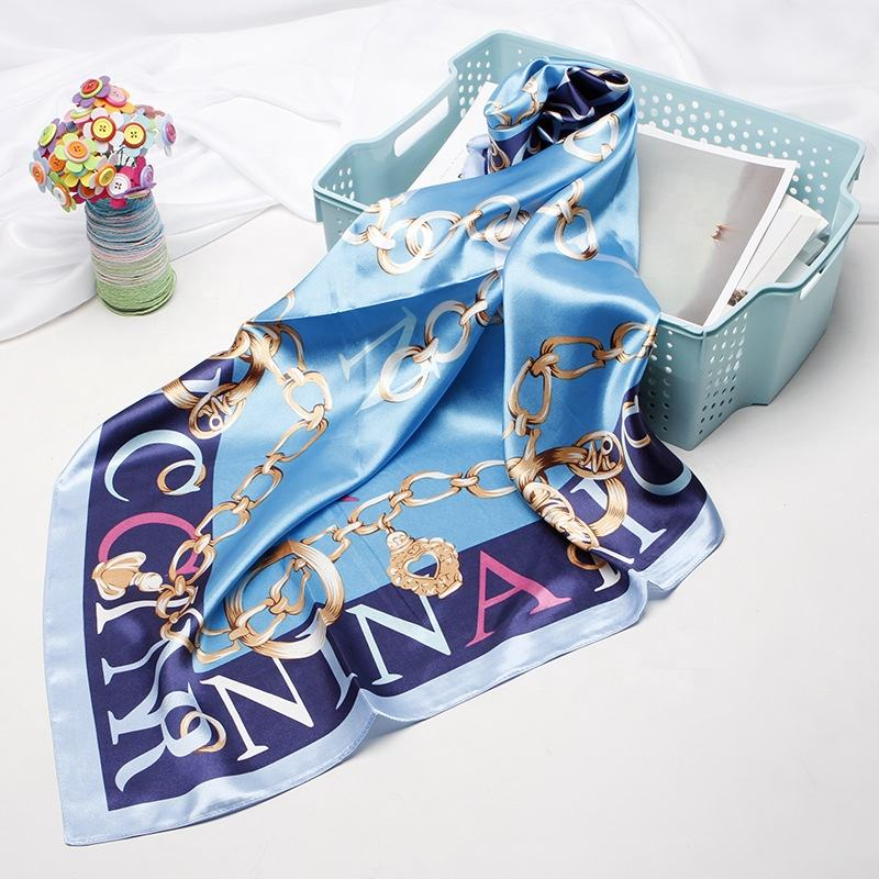 Women printed turkish private label plain satin silk shawl scarf