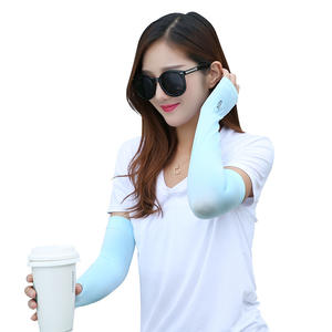 Slimming plain black driving uv protection ice silk cooling arm sleeves