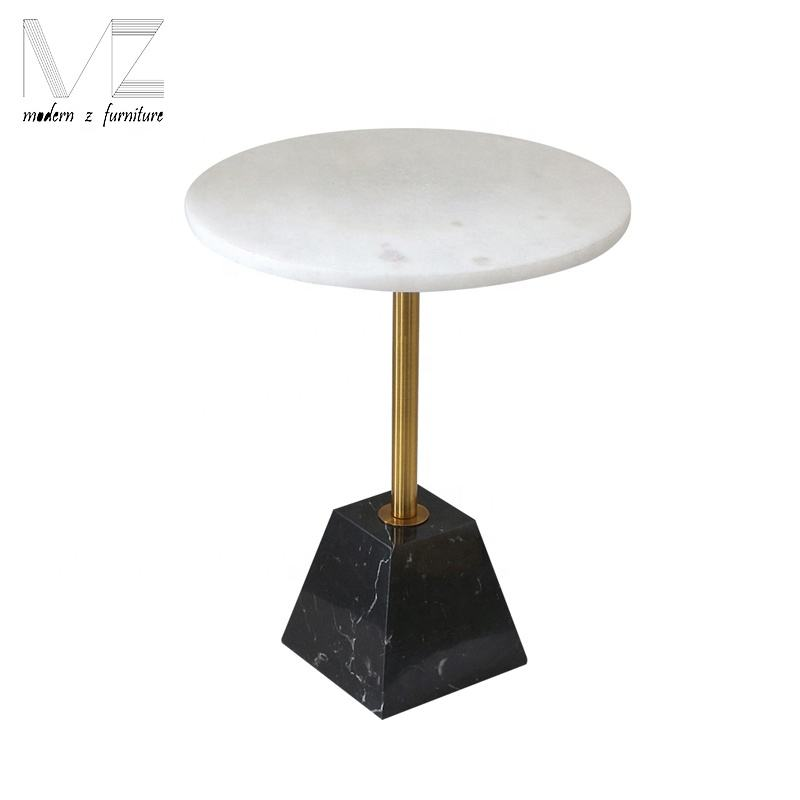 Geometric base nordic modern gold rod round marble metal side table and coffee table