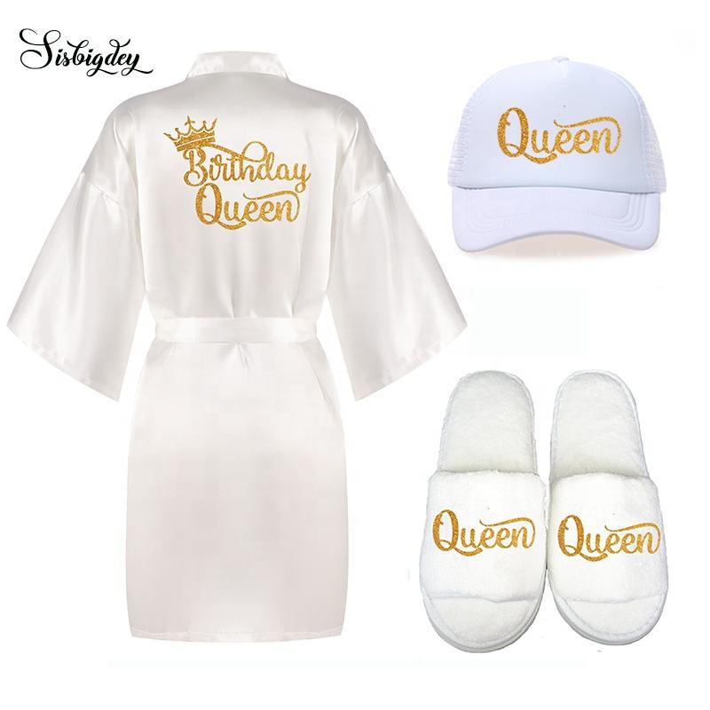 Custom Sleeping Wear Kimono Robes Women's Wedding Party Satin Bridal robes Slippers hats set