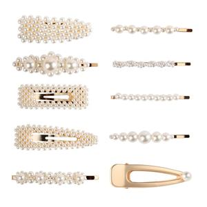 New Fashion Gold Silver Side Clips White Handmade Korean Styles Pearl Hair Clips for Girls