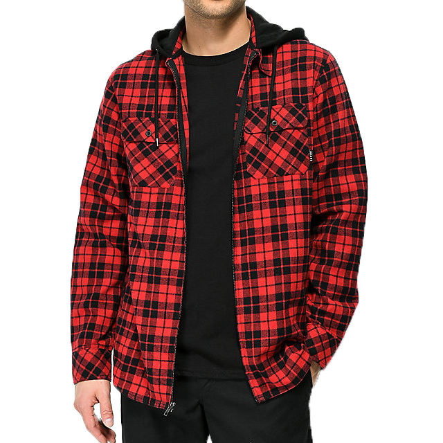 fashion red and black plaid zip shirt with hoodie for men