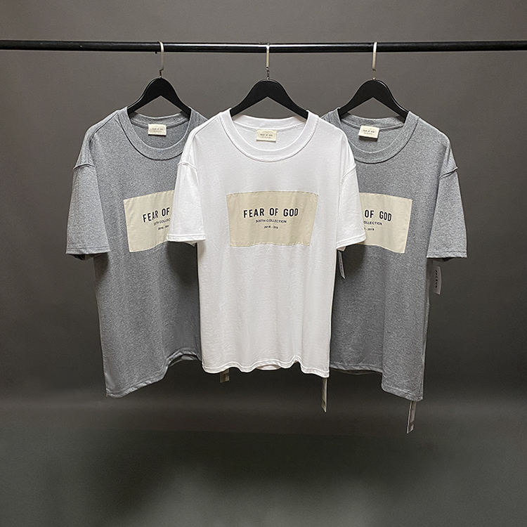 FEAR OF GOD The sixth season of the main line chest patch short-sleeved T-shirt Kanye male and female couples high street style