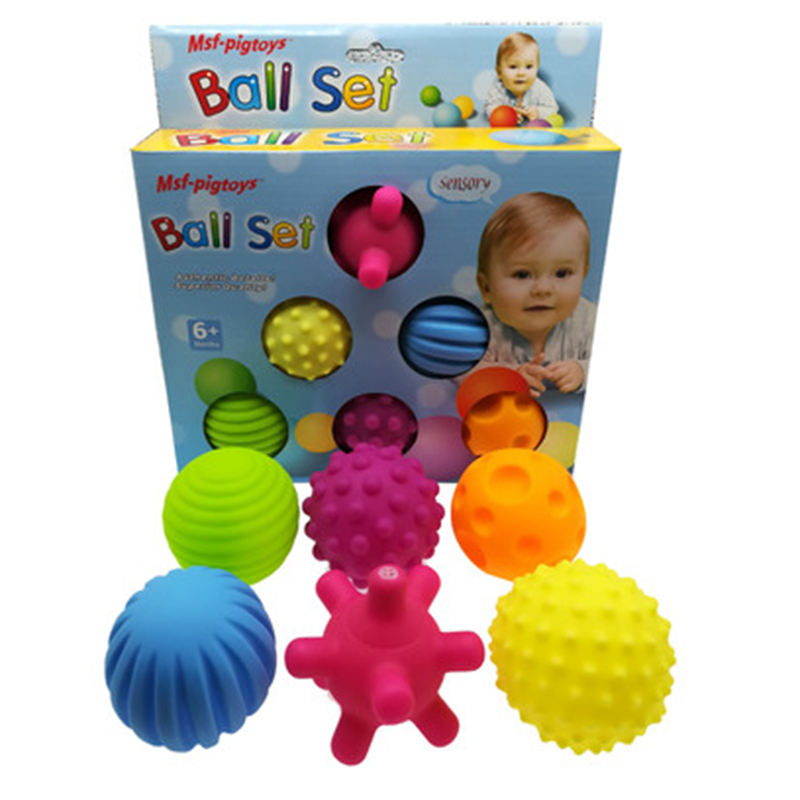 6pcs/set Baby Toy Ball Set Develop Baby's Tactile Senses Touch Hand Ball Toys Baby Training Soft Ball Massage
