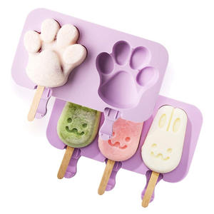 Food Grade Pfote Förmigen Silikon Eis Candy Popsicle Mold DIY Eis Form mit Deckel und 50 Holz Sticks