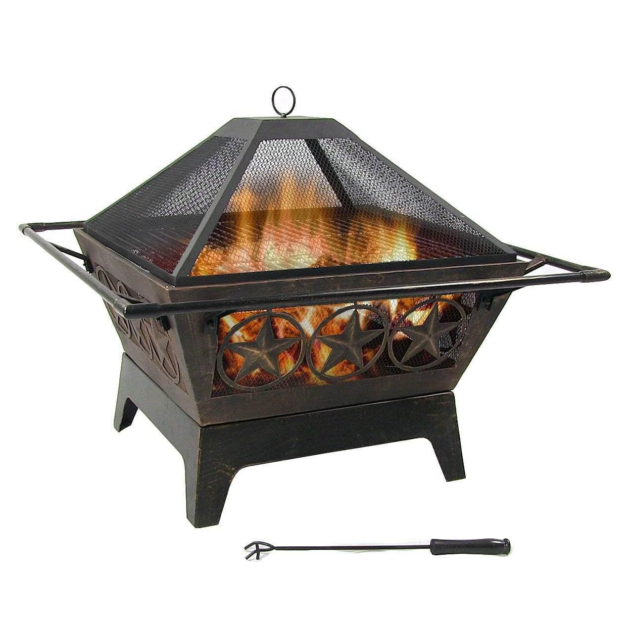 32inch Outdoor Wood Burning Squrae Fire Pit with Spark Screen