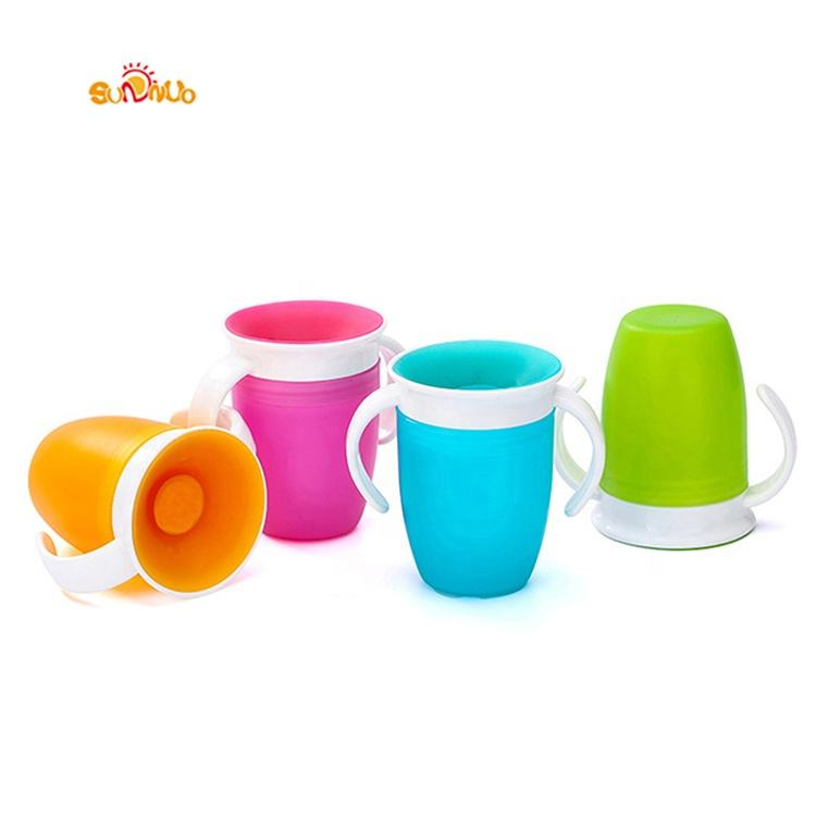 Baby 360 Degree Drinking Cup with Handle Liquid Silicone Water Cup for Babies Infants