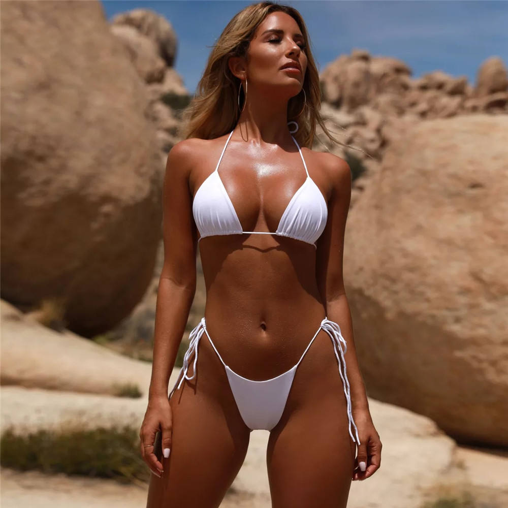 2020 Fashion Hot Sale 6 Color New Style Extremely Sexy Pure Color Spaghetti Strap Bandage Tankinis Bikini Swimsuit for Women