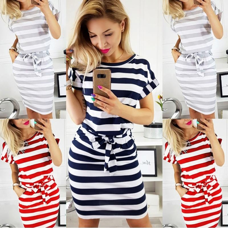 Wholesale New Fashion Women Summer O-neck Short Sleeve Dresses Striped Lace Up Belt Waist Slim Casual Knee Length Pencil Dress