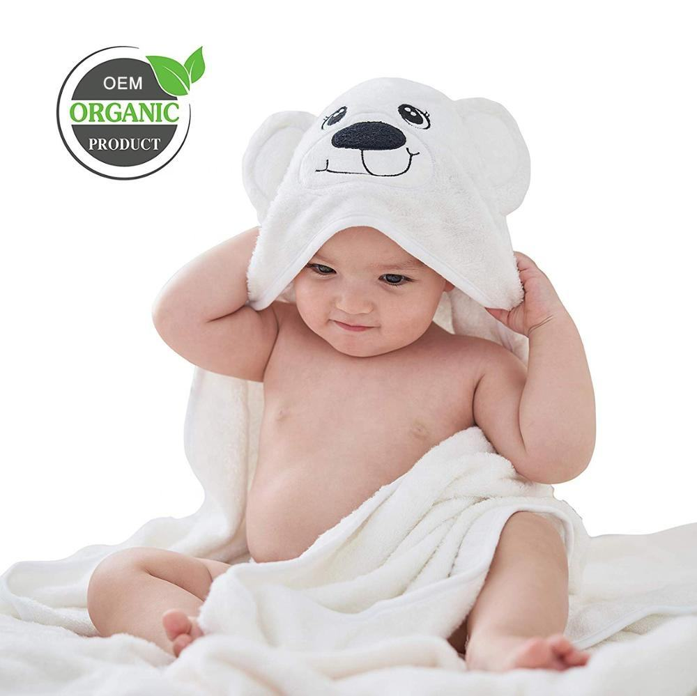 Organic Hooded Bamboo Baby Towel with Cute Bear Ears for Babies or Toddlers 35