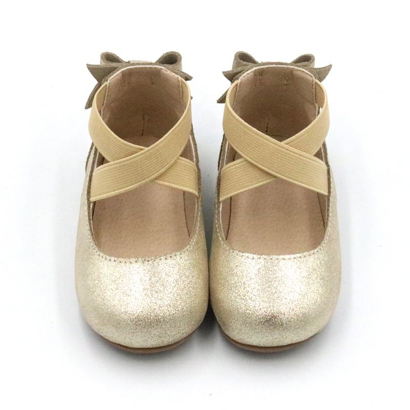 Back Bowknot Kid Elastic Band Slip-on Suede Leather Children Girls Ballet Shoes
