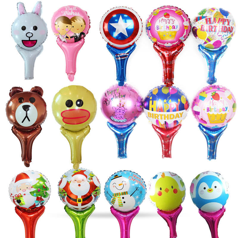 Customize helium party balloons Wholesale advertising handheld stick inflated mylar helium foil cartoon balloons