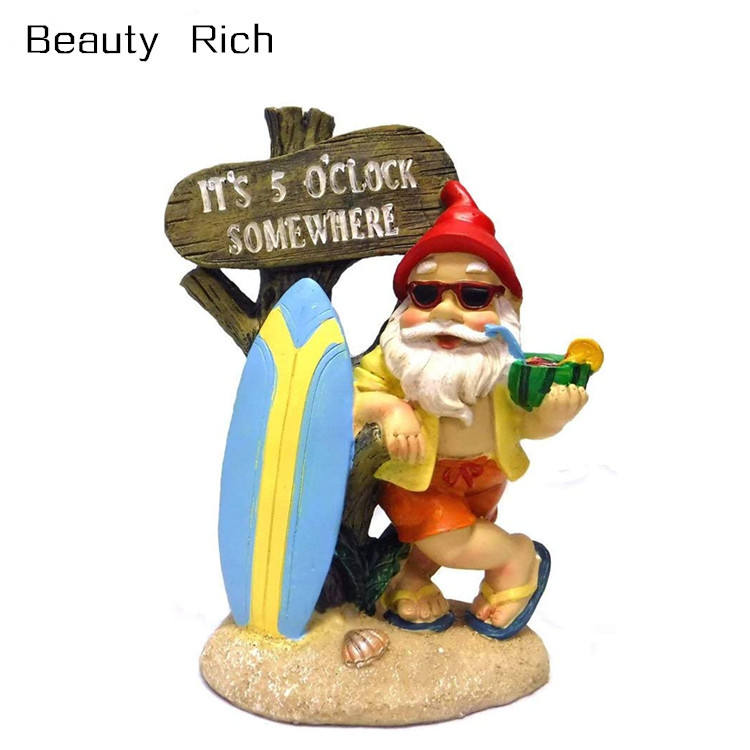 Polyresin/Resin Somewhere Tropical Party Gnome Garden Statue