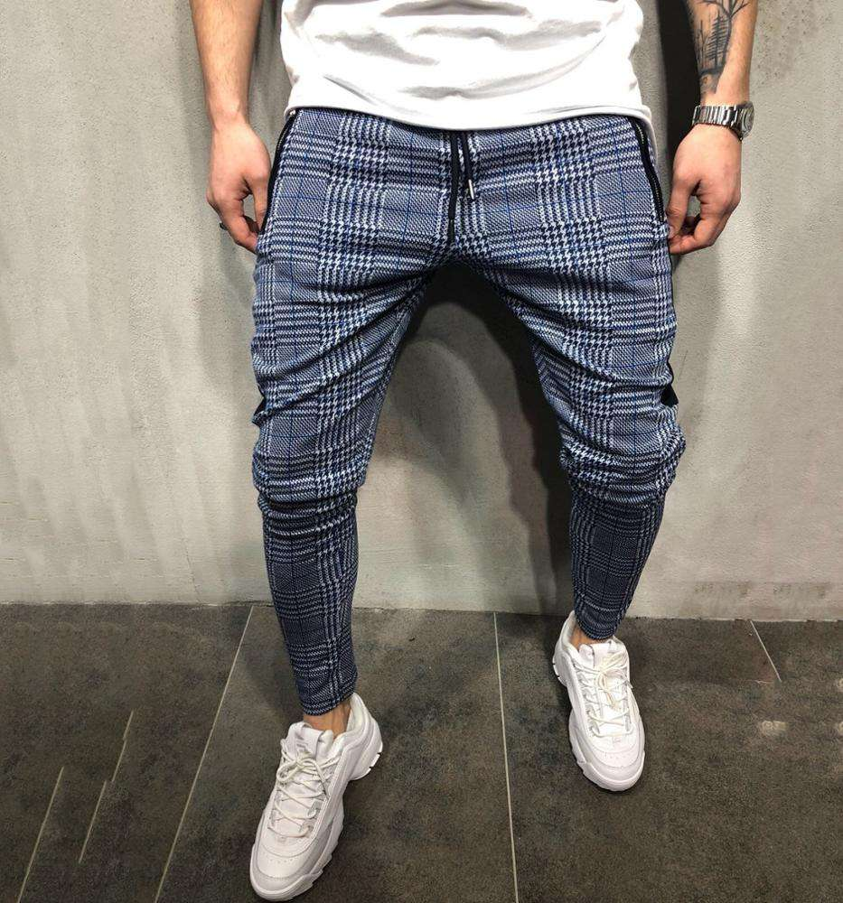 XJYD Hot Products Men 's Pants Trousers Classic Chino Check Europe Style Male Pants