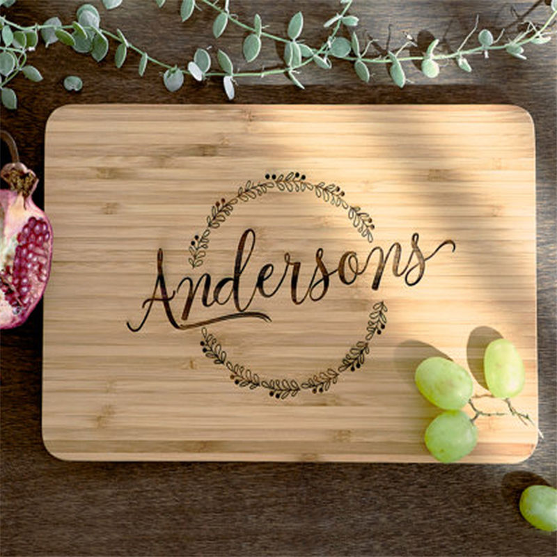 WanuoCraft Custom Logo Engraved Kitchen Bamboo Wood Cutting Board Wooden Chopping Boards