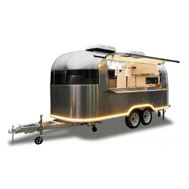 mobile Bbq Burger Coffee shiny wiredrawing stainless steel Airstream food trailer
