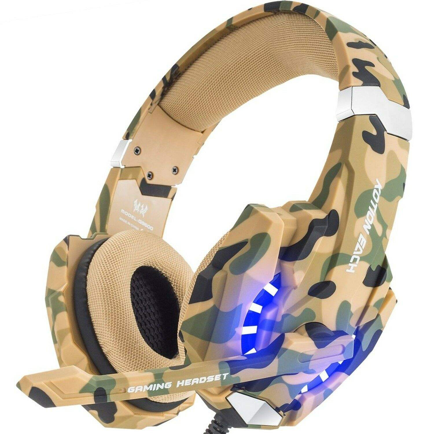 Kotion Headphone untuk Gamer G9600, Earphone PS4 Gaming dengan Lampu LED Mikrofon untuk PC Gaming <span class=keywords><strong>Laptop</strong></span>