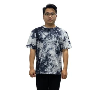 High quality 180gsm heavy cotton plain casual new design short sleeve bulk mens round neck tie dyed t shirt