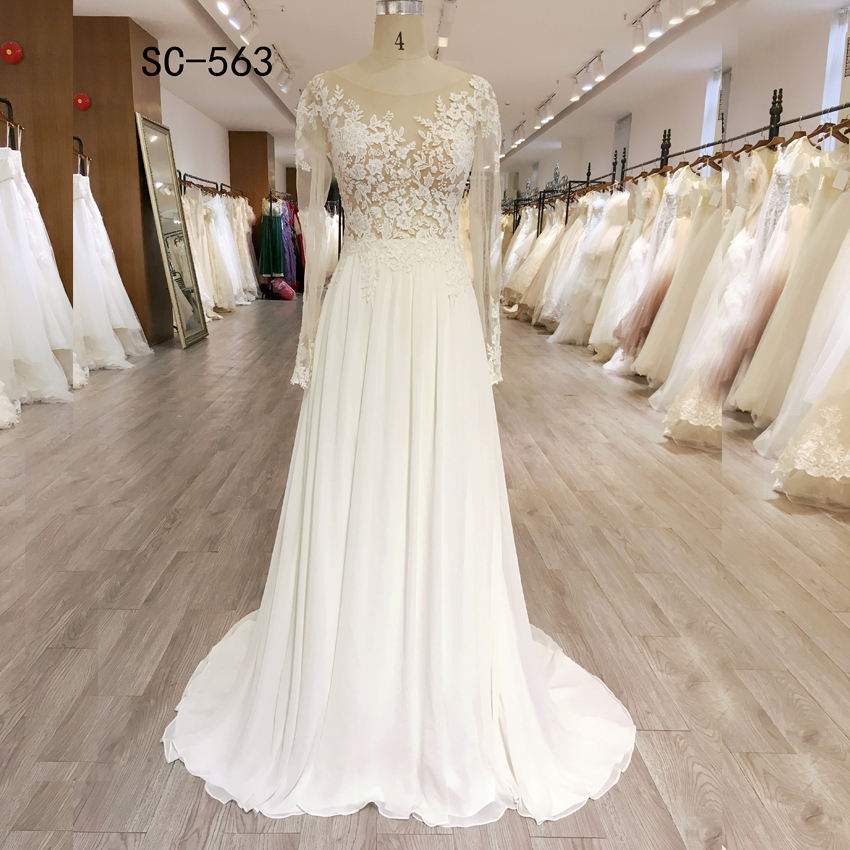 Long sleeve lace chiffon skirt illusion back beach dress wedding gown
